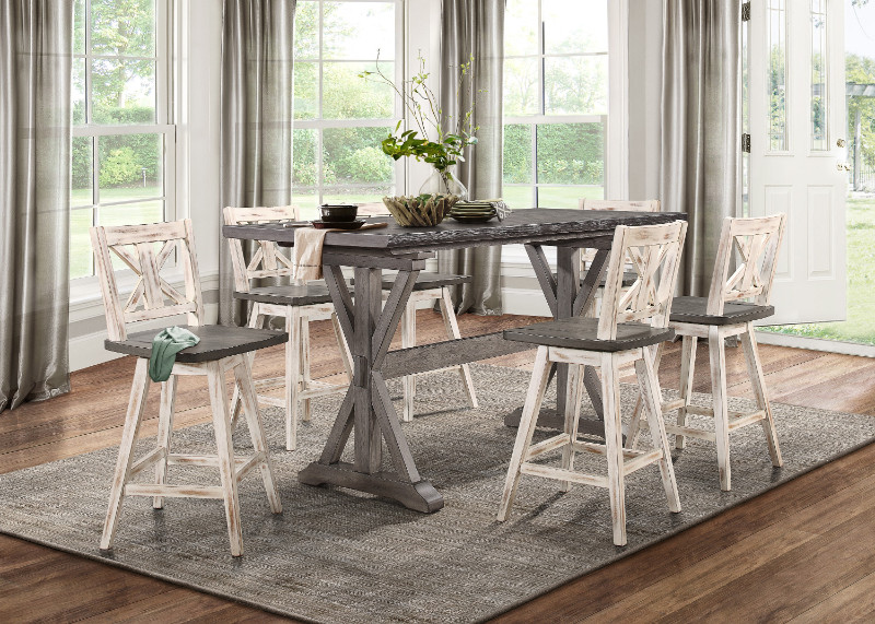 HE-5602-36-WH 7 pc Gracie oaks marlon amsonia grey finish wood counter height dining table set white chairs