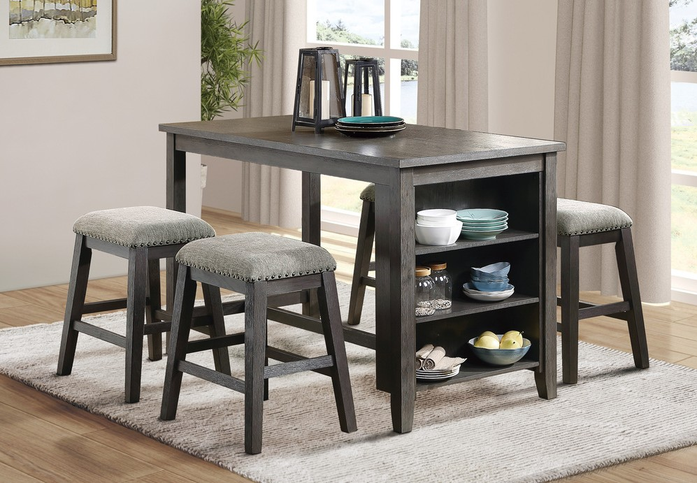 Homelegance 5603-36-24F1-5PC 5 pc Canora grey timbre wire brush grey finish wood counter height dining table set with shelf