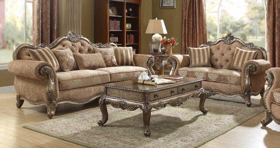 Acme 56030-31 2 pc Rosdorf park lorentz ragenardus vintage oak finish wood brown fabric tufted sofa and love seat set