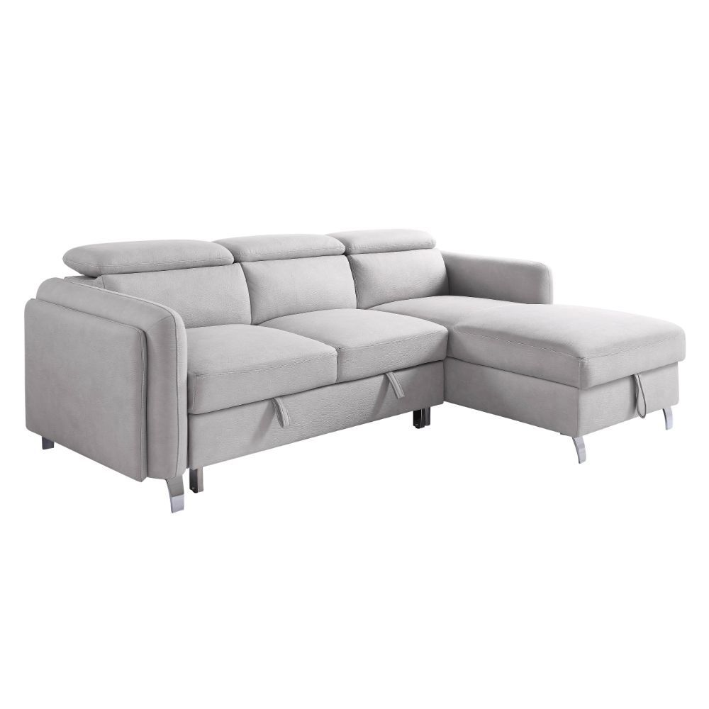 Acme 56040 Genoveve Reyes beige nubuck fabric sectional sofa with pop up chaise with storage