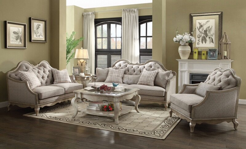 Acme 56050-51 2 pc One allium way taglieri chelmsford antique taupe finish wood beige fabric sofa and love seat set