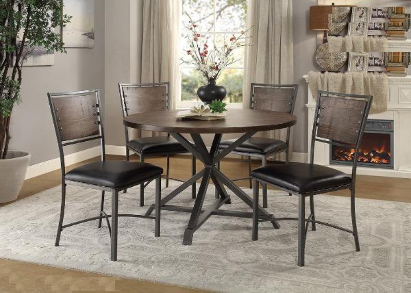 """Homelegance HE-5606-45RD-5PC 5 pc Fideo gray tone metal legs 45"""" round top dining table set"""