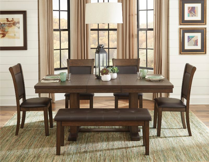 Homelegance 5614-72 6 pc Brim light rustic brown finish wood brown leatherette padded seats dining table set