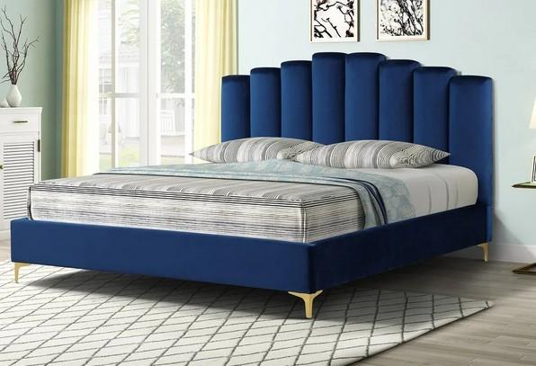 Best Master 562-BL Orren ellis dietz blue velvet fabric tufted queen bed set gold accents