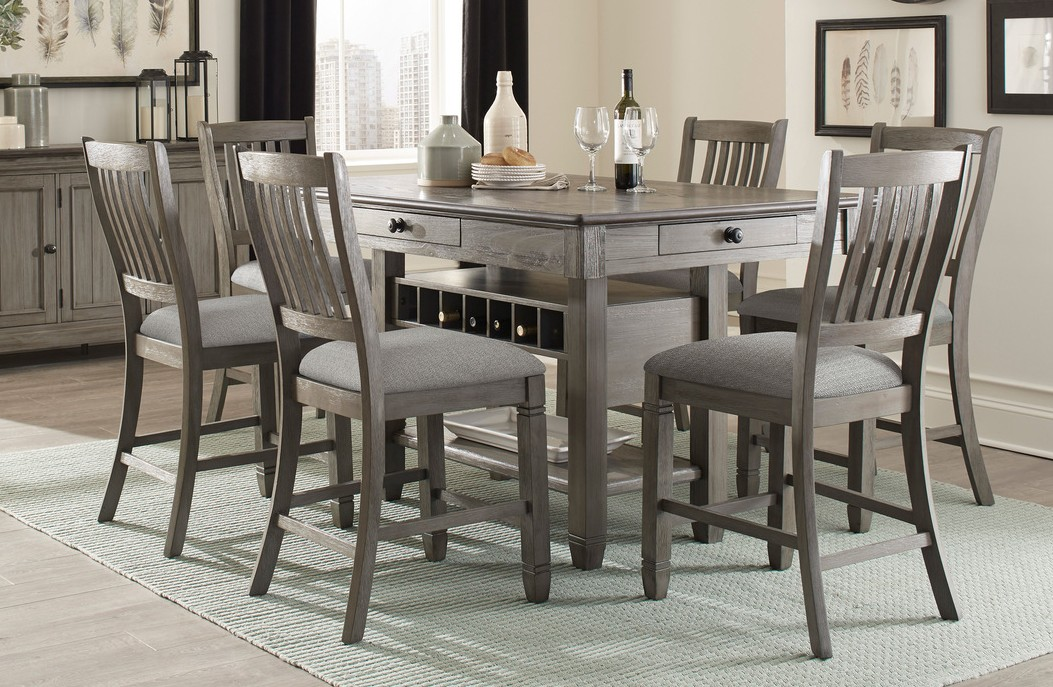 Homelegance 5627GY-36 7 pc Willow bend antique gray and coffee finish wood counter height dining table set