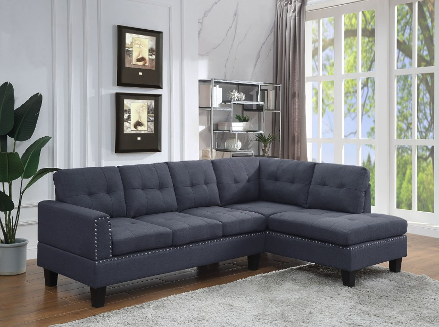 Acme 56475 2 pc Darby home co Jeimmur grey faux linen sectional sofa with tufted back