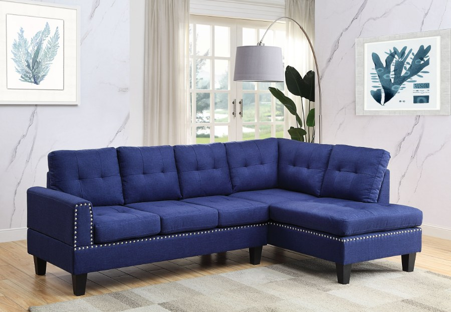 Acme 56480 2 pc Red barrel studio jeimmur blue linen fabric sectional sofa with nail head trim