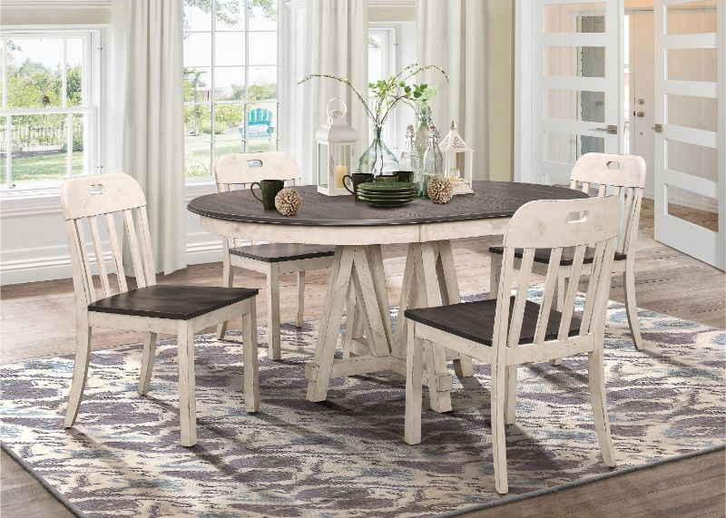Homelegance 5656-66 5 pc Clover gray and weathered white finish wood oval / round dining table set