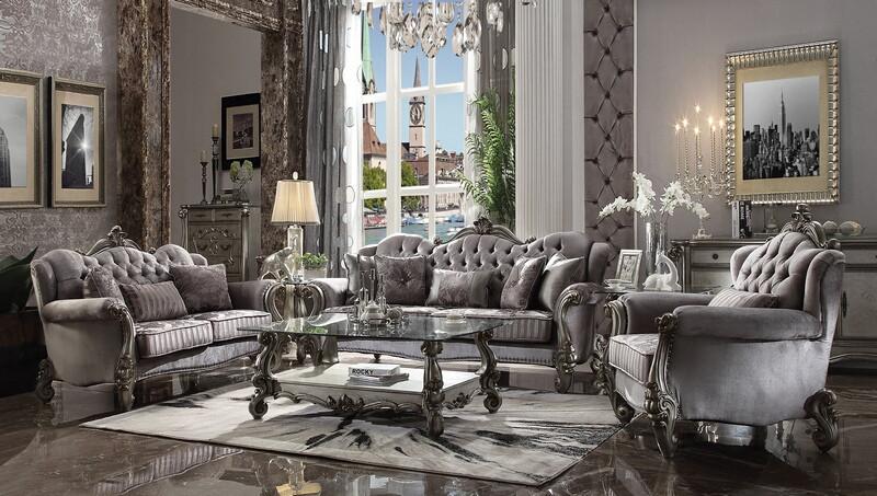 Acme 56840-41 2 pc Astoria grand bermuda versailles platinum finish wood velvet tufted backs sofa and love seat