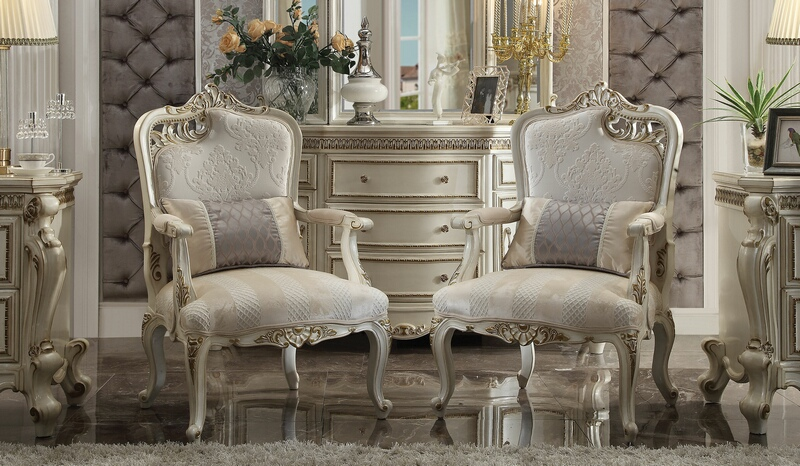 Acme 56883-84 Set of 2 Picardy pearl finish wood accent side chairs with lumbar pillows