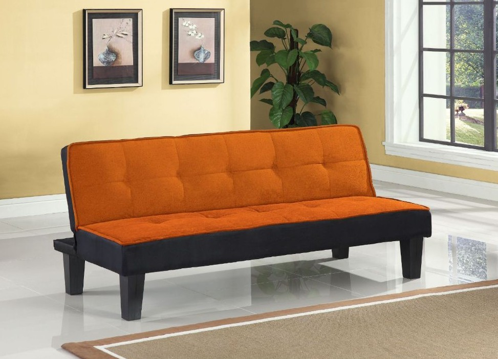 Hamar orange microfiber fabric upholstered small space apartment size adjustable sofa futon bed with dark finish legs