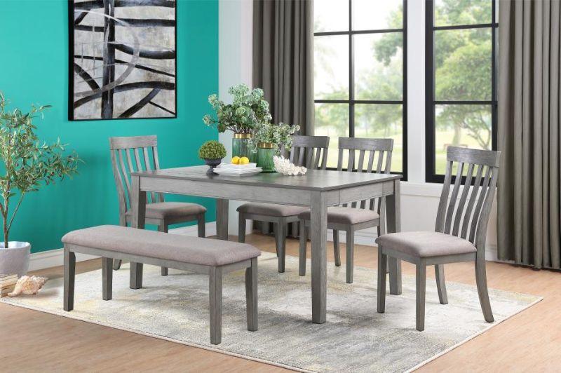 6 pc Armhurst gray finish wood fabric padded seats dining table set