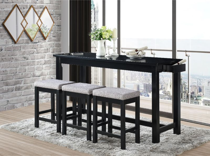 5713BK 4 pc Topline baresford black finish wood padded seats counter height dining table set