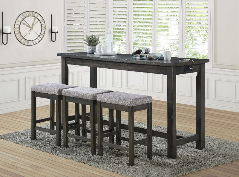 5713GY 4 pc Topline baresford grey finish wood padded seats counter height dining table set