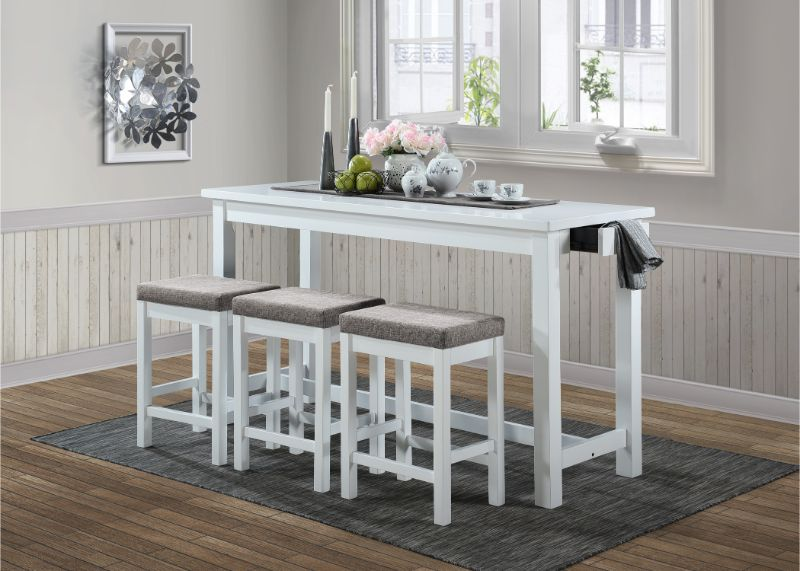 5713WT 4 pc Topline baresford white finish wood padded seats counter height dining table set