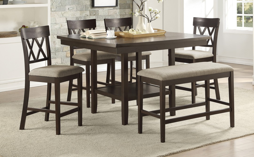 Homelegance 5716-36-S2-6PC 6 pc Darby home co Balin dark brown finish wood counter height dining table set with bench