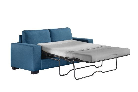 Acme 57215 Tibbee blue fabric full sleeper sofa with squared arms