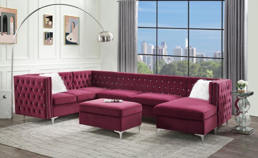 Acme 57330 7 pc Rosdorf park Bois burgundy velvet fabric modular sectional sofa tufted backs