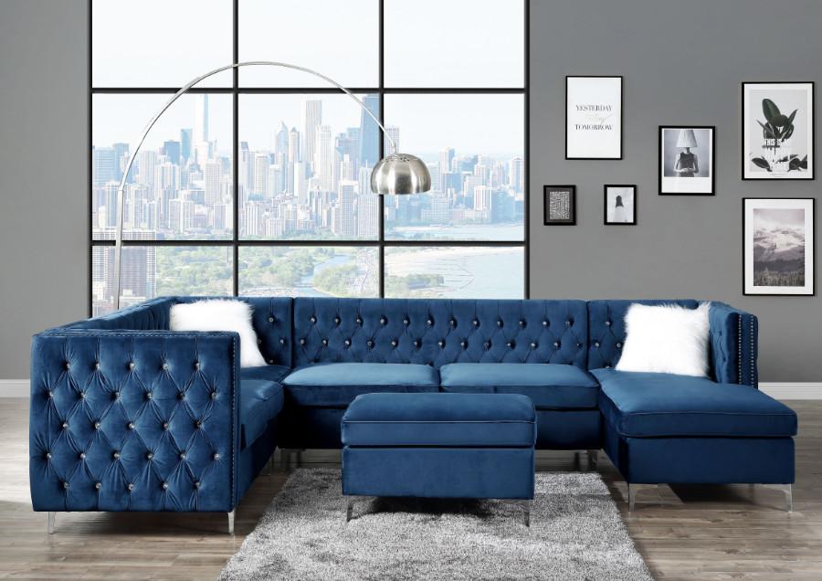 Acme 57340 7 pc Rosdorf park Bois blue velvet fabric modular sectional sofa tufted backs