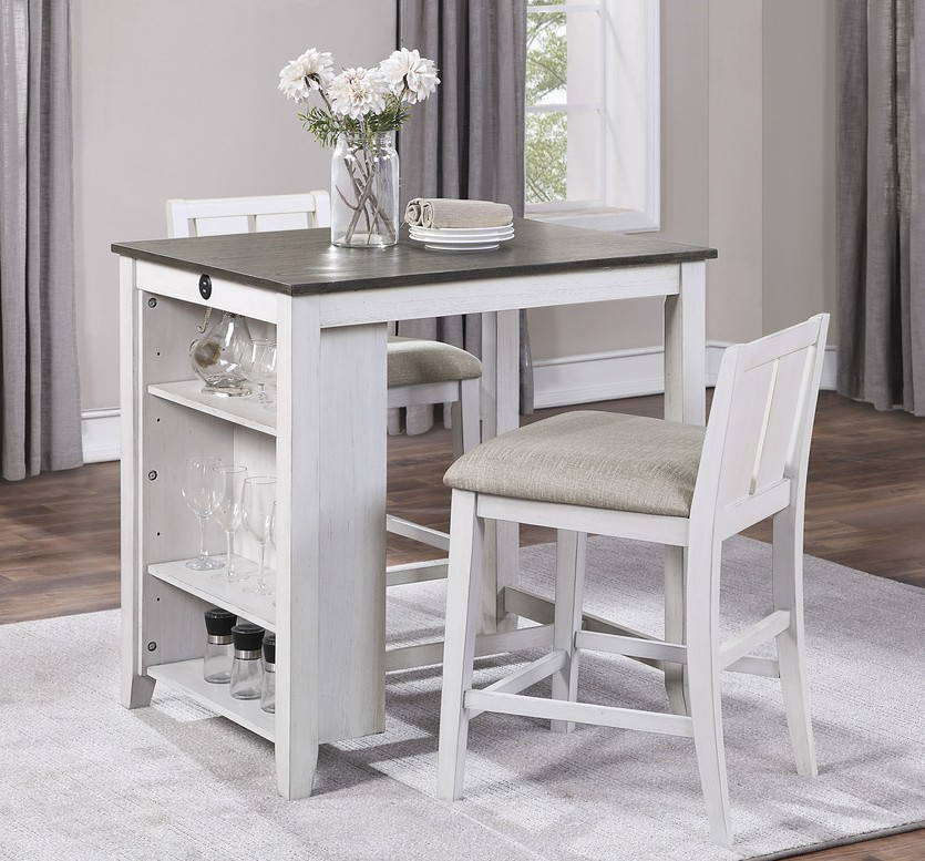 Homelegance 5773WH-32 3 pc Canora grey daye white and grey finish wood counter height dining table set with shelf
