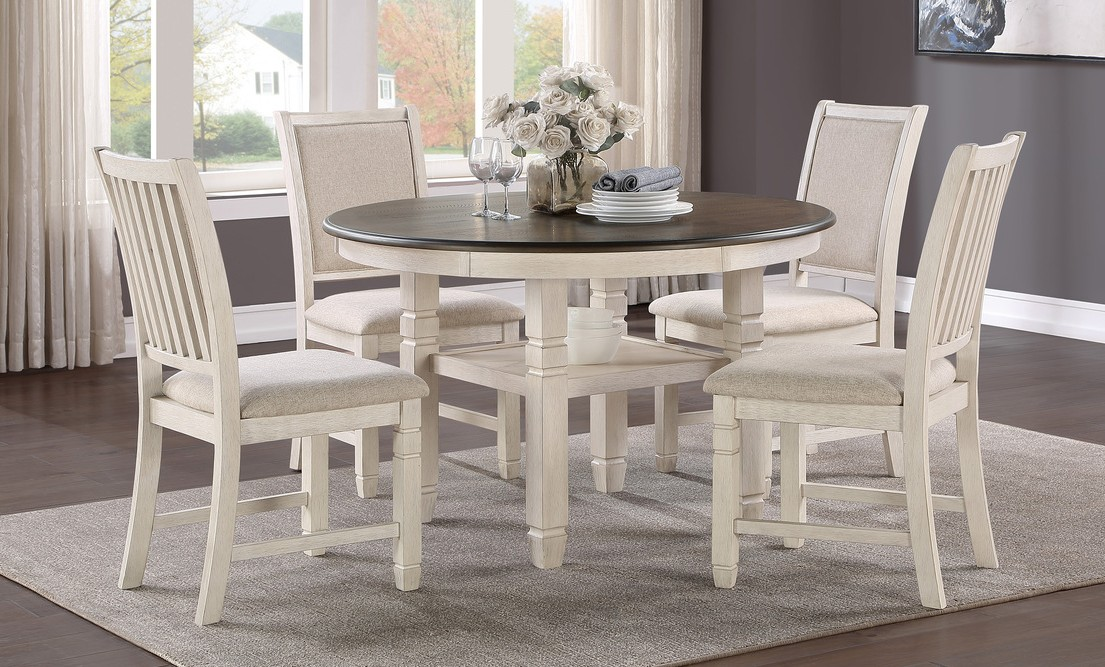"""Homelegance 5800WH-48RD 5 pc Canora grey asher brown and antique white finish wood 48"""" round dining table set"""