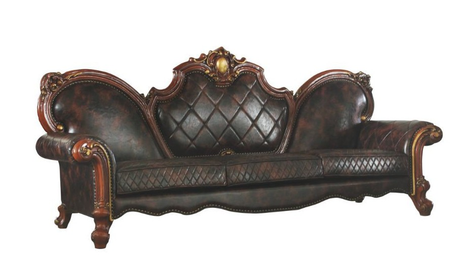 Acme 58221 Astoria Grand picardy vintage cherry oak finish wood carved accents sofa