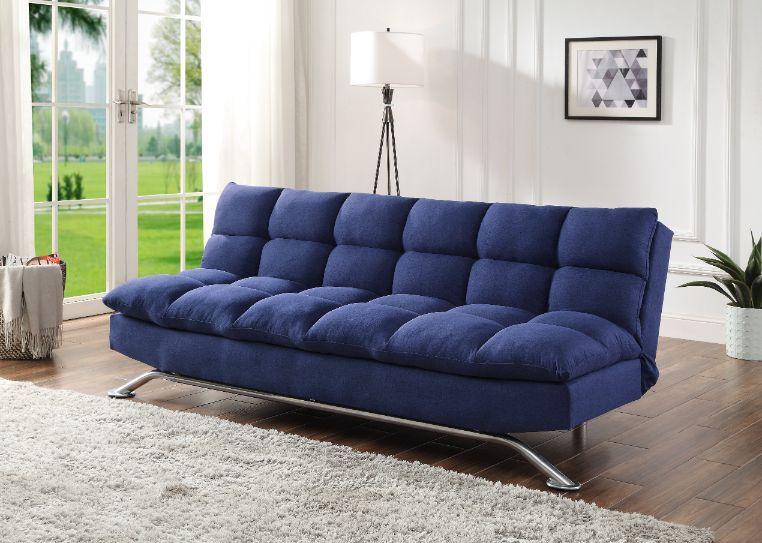 Acme 58255 A&J homes studio hamar blue fabric adjustable sofa futon bed