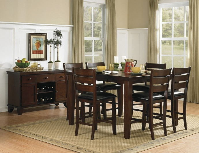 7 pc ameillia collection dark oak finish wood counter height dining table set with vinyl padded seats and butterfly leaf