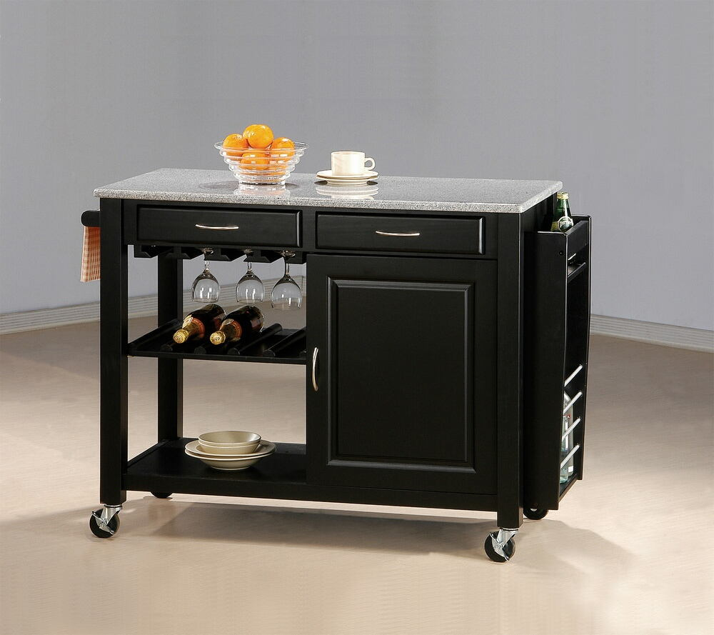 Coaster 5870 Chefs helper black finish wood kitchen island cart with granite top and casters