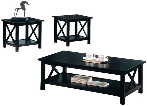 5909 3 pc espresso finish wood coffee and end table set with cross design legs