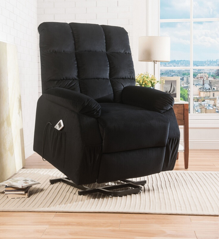 Acme 59262 Red barrel studio holtmann ipompea black velvet fabric electric lift recliner chair with massage
