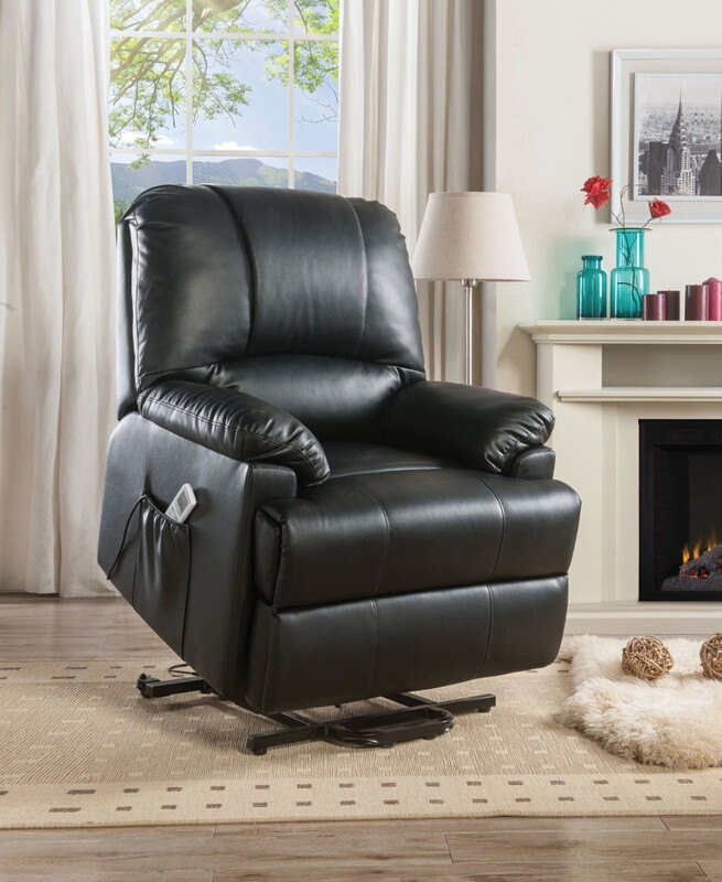 Acme 59285 Ixora black faux leather electric lift recliner with massage