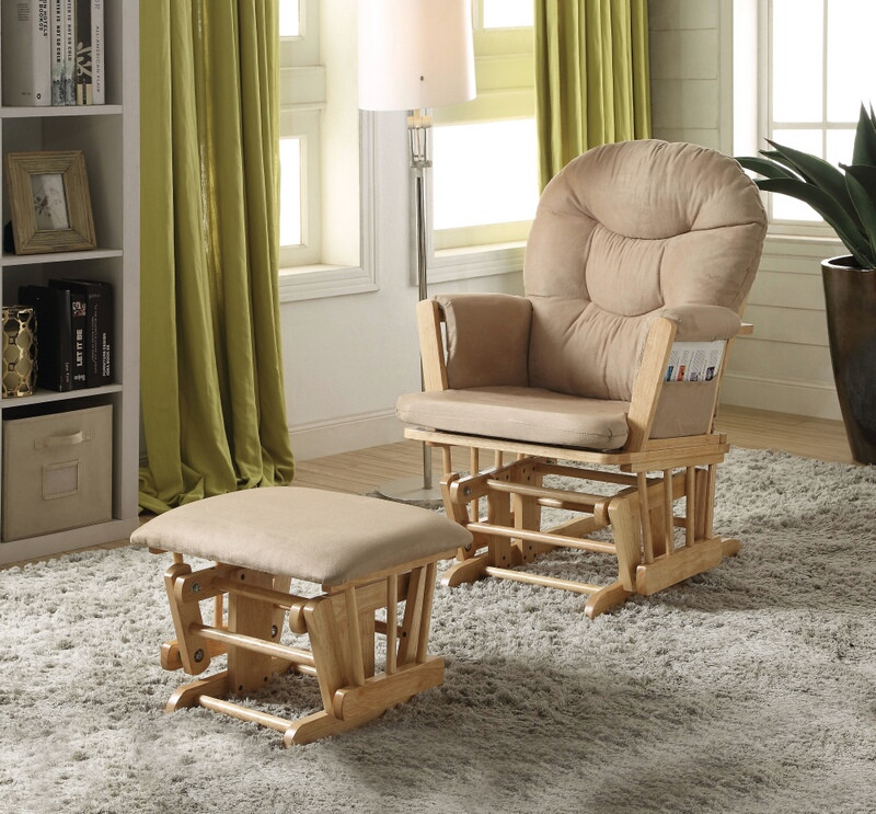 Acme 59332 2 pc rehan natural oak finish wood and taupe microfiber glider chair and ottoman
