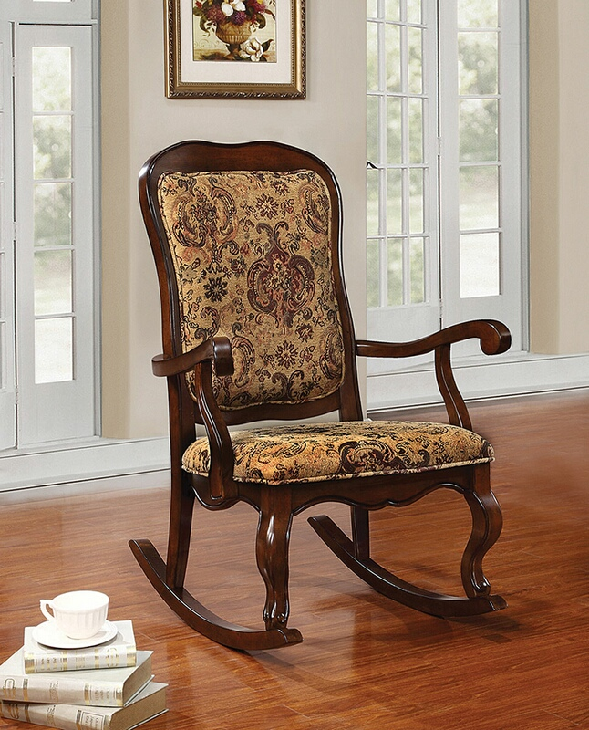 Acme 59390 Sharan cherry finish wood and tapestry floral pattern fabric upholstered rocking chair