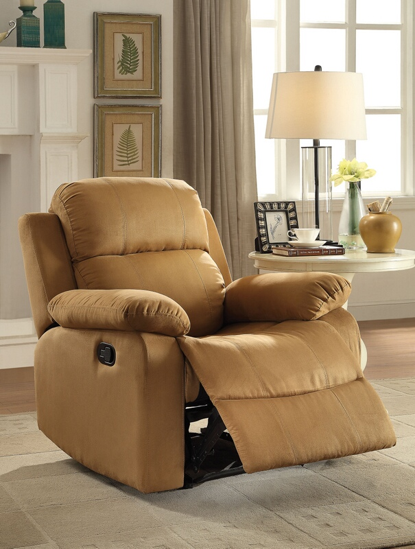 Acme 59468 Parklon brown microfiber fabric recliner chair with overstuffed seats and arms
