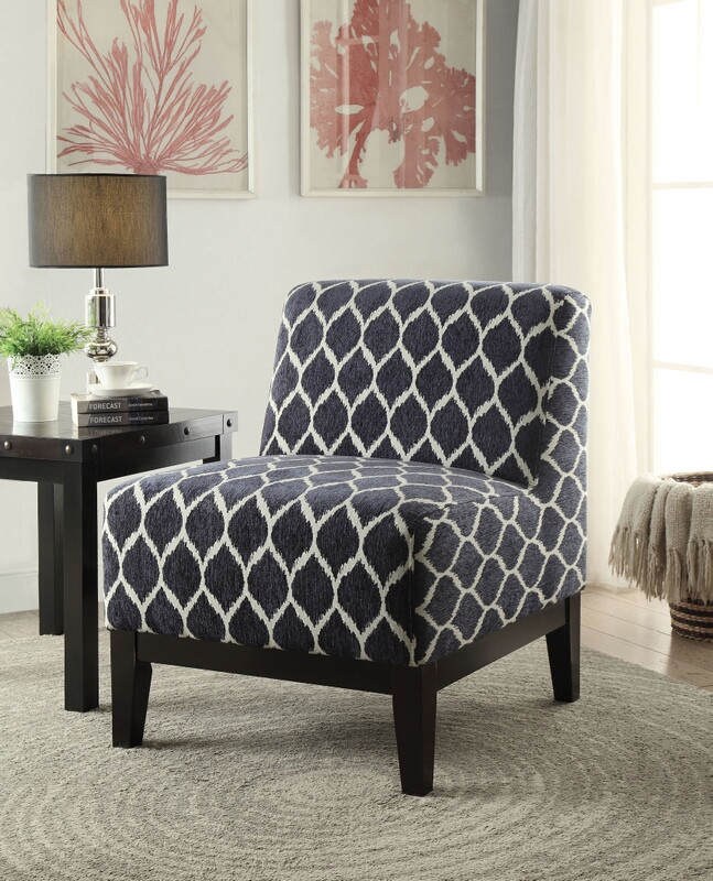 Acme 59501 Hinte rounded diamond dark blue pattern fabric accent chair with wood legs