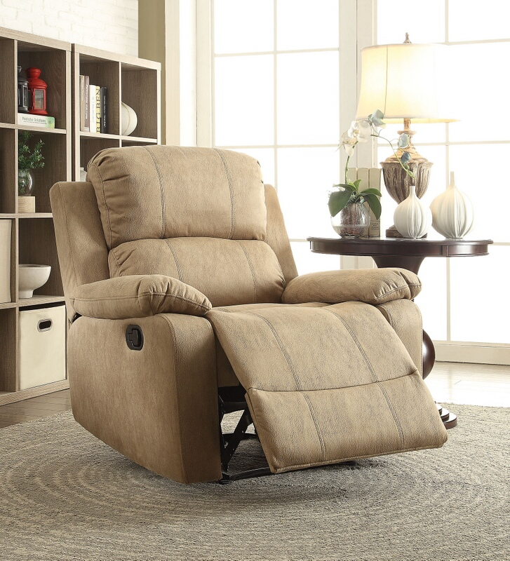 Acme 59526 Bina light brown polished microfiber fabric recliner chair with memory foam seating