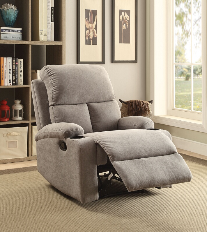 Acme 59549 Rosia gray linen fabric recliner chair with cup holders