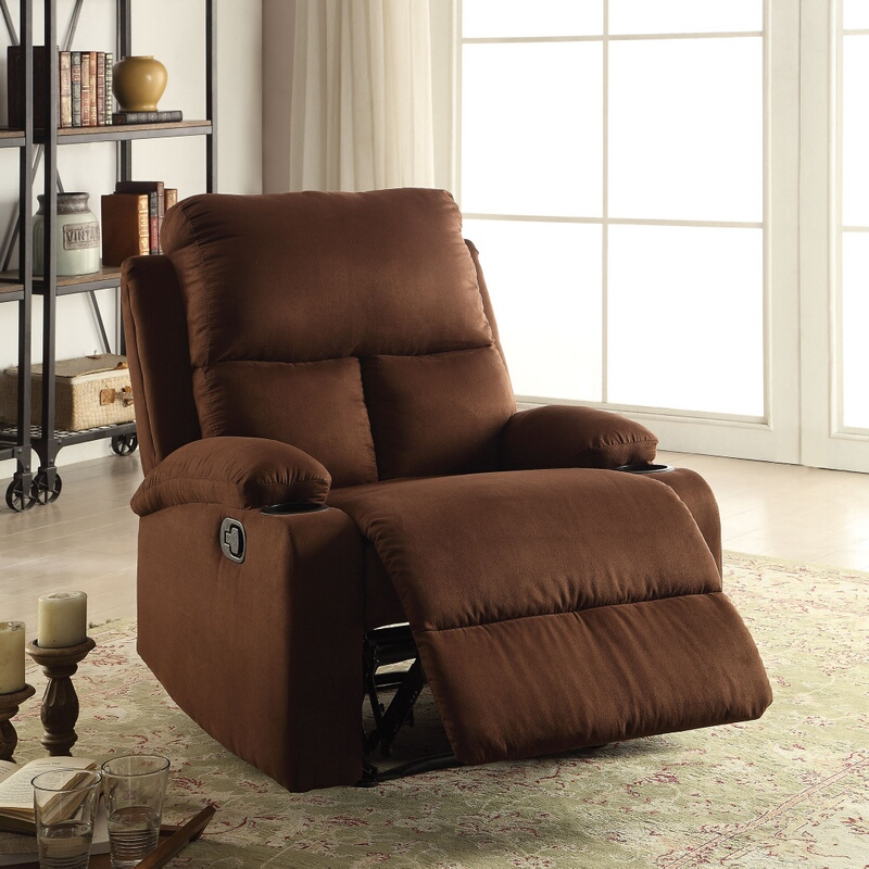 Acme 59553 Rosia chocolate microfiber fabric recliner chair with cup holders