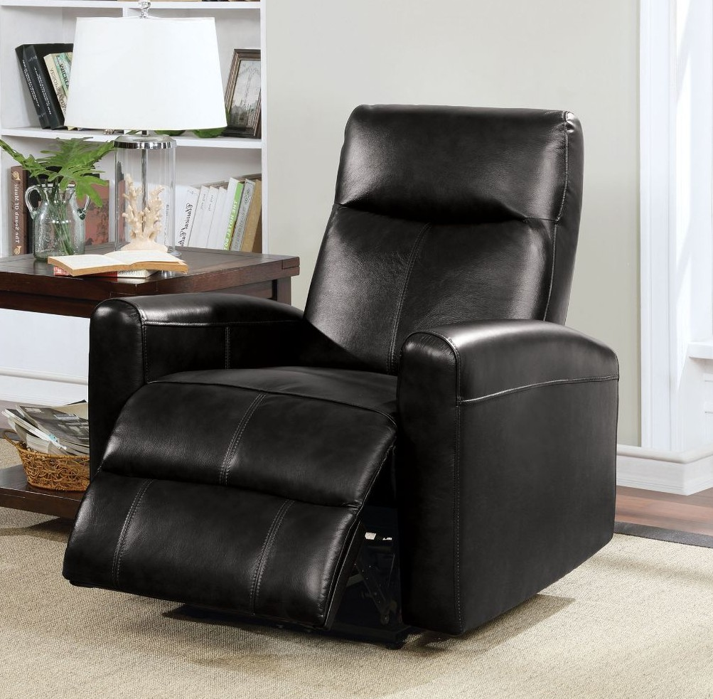 Acme 59686 Blane black top grain leather power motion recliner chair modern style