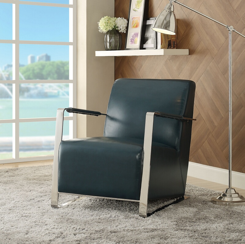 Acme 59780 Rafael II retro teal faux leather and stainless steel chair