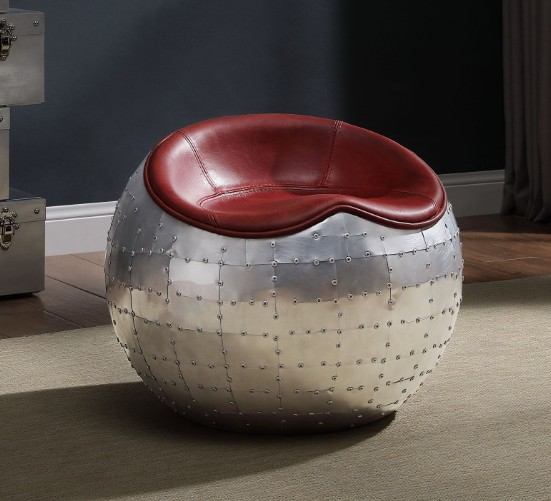 Acme 59838 17 stories wesley brancaster retro red genuine leather round ball ottoman stool with stainless riveted accents