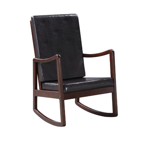 Acme 59935 Darby home co harting Raina espresso finish wood and dark brown faux leather upholstered rocking chair