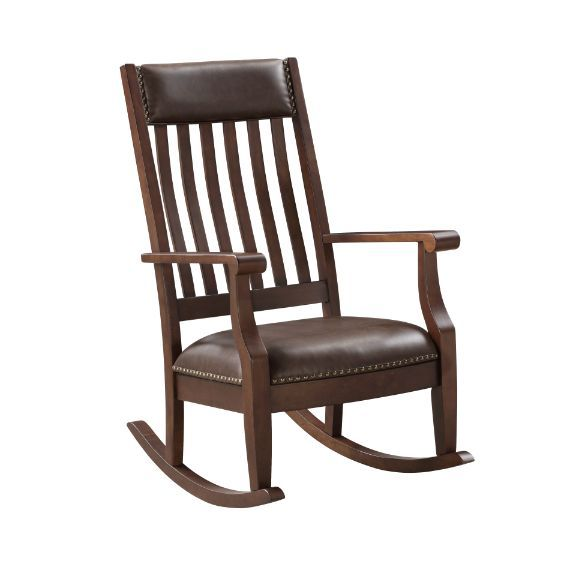 Acme 59937 Raina walnut finish wood and dark brown faux leather upholstered rocking chair