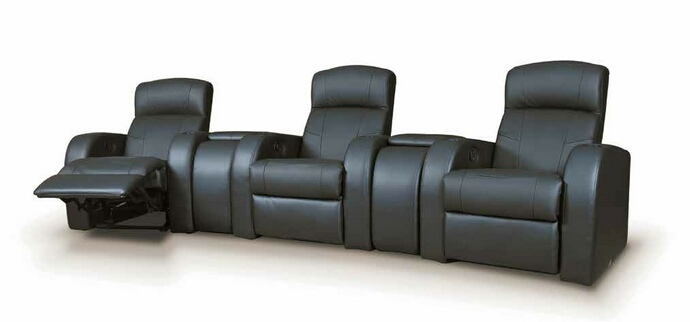 5 pc cyrus collection black top grain leather upholstered modular theater seating sectional