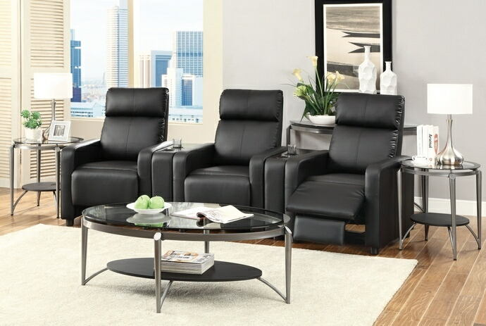 5 pc toohey home theater collection black leather like vinyl recliners with console centers