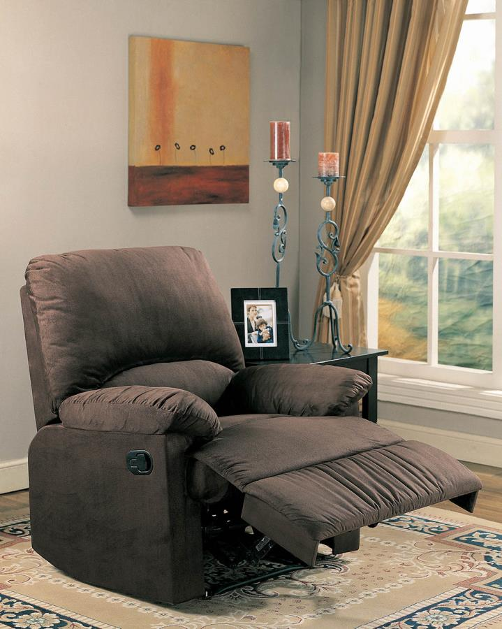 600266G Casual chocolate microfiber fabric overstuffed glider recliner chair