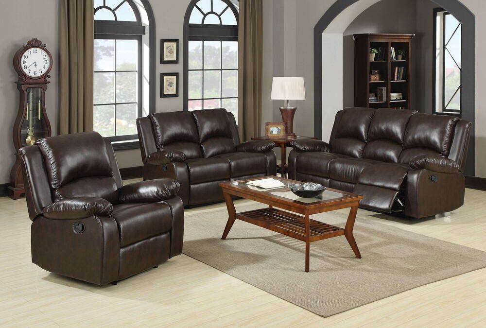 2 pc boston collection brown leather like vinyl sofa with recliner ends and love seat with recliner ends