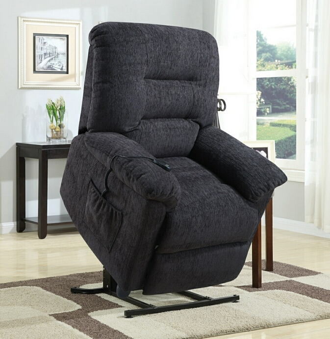 Mabel collection dark grey chenille upholstered power lift recliner chair