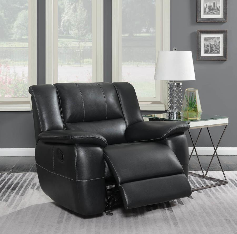 601063 Casual black faux leather glider recliner chair